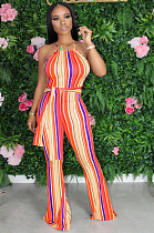 Orange Casual Polyester Striped Sleeveless Round Neck Waist Tie Cami Jumpsuit KZ134