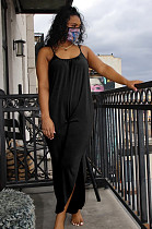 Zwarte casual mouwloze cami-jumpsuit met ronde hals KF168