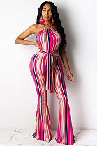 Rose Red Casual Polyester Striped Sleeveless Round Neck Waist Tie Cami Jumpsuit KZ134