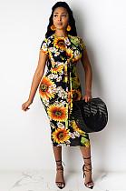 أصفر عارضة Ditsy الأزهار كم قصير جولة العنق التعادل الجبهة في جميع أنحاء طباعة فستان طويل MY9658