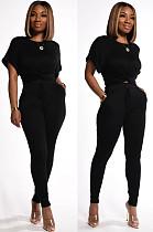 Black Casual Short Sleeve Round Neck Drawstring Waist Tee Top Long Pants Sets KZ004