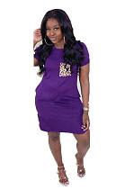 Purple Casual Leopard Short Sleeve Round Neck Shift Dress WA5010