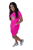 Pink Casual Leopard Short Sleeve Round Neck Shift Dress WA5010