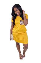Yellow Casual Leopard Short Sleeve Round Neck Shift Dress WA5010