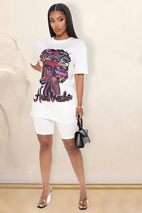 White Casual Figure Graphic Short Sleeve Round Neck Tee Top Shorts Sets W8272