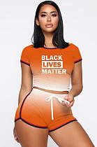 Оранжевый спортивный полиэстер буквы градиента рампа с коротким рукавом шею укороченные шорты комплекты MDF5139
