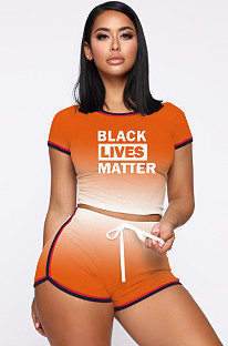 Orange Sporty Polyester Letter Gradient Ramp Short Sleeve Round Neck Crop Top Shorts Sets MDF5139