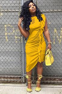Gouden sexy korte mouw ronde hals ruches shift jurk WM838