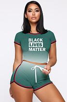 Зеленый спортивный полиэстер Буква Gradient Ramp с коротким рукавом вокруг шеи Укороченные шорты комплекты MDF5139