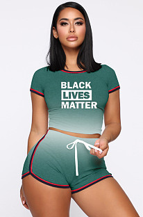 Green Sporty Polyester Letter Gradient Ramp Short Sleeve Round Neck Crop Top Shorts Sets MDF5139