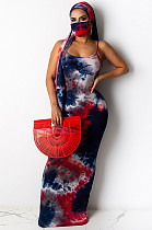 Red Sexy Tie Dye Платье без рукавов с круглым вырезом и талией YF8517