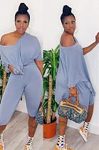 Blue Casual Polyester Short Sleeve Off Shoulder Drop Shoulder Peplum Top Capris Pants Sets MF5164