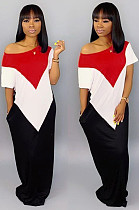 White Red Casual Geometric Graphic Short Sleeve Round Neck Spliced A Line Dress TRS930