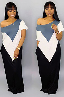 Whtie Gray Casual Geometric Graphic Short Sleeve Round Neck Spliced A Line Dress TRS930