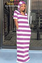 Purple Casual Polyester Striped Short Sleeve Round Neck Mid Waist Long Dress DM2250