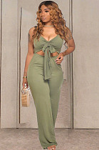 Shallow Army Green Casual Polyester Sleeveless Tie Front Tank Jumpsuit TRS1039