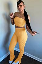 Yellow Simplee Polyester Bandeau Bra Top Jag Flare Leg Pants HR8100