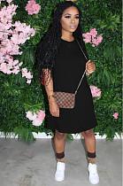 Black Casual Short Sleeve Round Neck Flat Pocket Shift Dress TRS1040