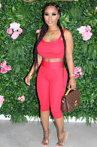 Red Casual Sleeveless Round Neck Tank Top Cropped Pants Sets TRS1046