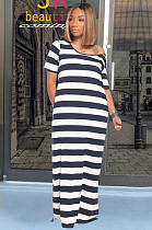 Navy Blue Casual Polyester Striped Short Sleeve Round Neck Mid Waist Long Dress DM2250