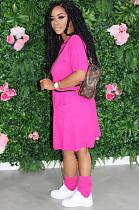Rose Red Casual Short Sleeve Round Neck Flat Pocket Shift Dress TRS1040