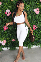 White Casual Sleeveless Round Neck Tank Top Cropped Pants Sets TRS1046