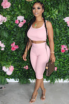 Pink Casual Sleeveless Round Neck Tank Top Cropped Pants Sets TRS1046