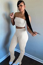 White Simplee Polyester Bandeau Bra Top Jag Flare Leg Pants HR8100