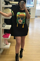 Black Casual Polyester Cartoon Graphic Round Neck Mini Dress TRS792