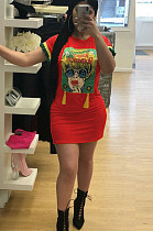 Red Casual Polyester Cartoon Graphic Round Neck Mini Dress TRS792