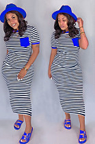 Blue Casual Striped Short Sleeve Round Neck Long Dress CM749