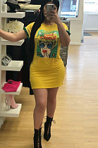 Yellow Casual Polyester Cartoon Graphic Round Neck Mini Dress TRS792