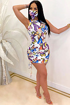 White Sexy Animal Graphic Sleeveless Round Neck Knot Side All Over Print Mini Dress SY8561