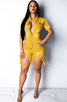 Golden Yellow Casual Geometric Graphic Short Sleeve Button Front Ripped Romper F8190