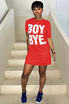 Red Casual Polyester Letter Short Sleeve Round Neck Mini Dress TRS726