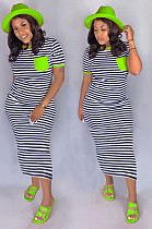 Green Casual Striped Short Sleeve Round Neck Long Dress CM749