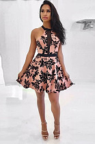 Pink Modest Sleeveless Hollow Out Guipure Lace A Line Dress ORY5004