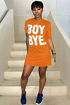 Orange Casual Polyester Letter Short Sleeve Round Neck Mini Dress TRS726