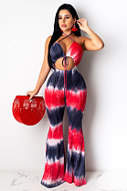 Black Red  Sexy Polyester Sleeveless Halterneck Self Belted Cami Jumpsuit LS6346