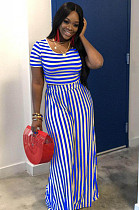Blue Casual Striped Short Sleeve Round Neck Tee Top Wide Leg Pants Sets WA5001