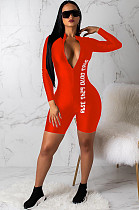 Orange Red Casual Polyester Letter Long Sleeve Bodycon Jumpsuit CY1085