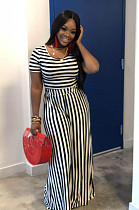 Black Casual Striped Short Sleeve Round Neck Tee Top Wide Leg Pants Sets WA5001