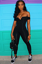 Black Sexy Polyester Sleeveless V Neck Tube Jumpsuit CY1049