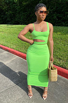 Green Simplee Sleeveless Strappy Hollow Out Tank Top Bodycon Skirt Sets BBN060