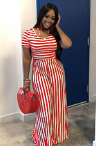 Red Casual Striped Short Sleeve Round Neck Tee Top Wide Leg Pants Sets WA5001