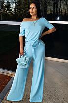 Light Blue Casual Polyester Short Sleeve Waist Tie Romper WA5021