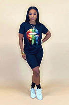 Dark Blue Casual Mouth Graphic Short Sleeve Round Neck Tee Top Shorts Sets WA5113