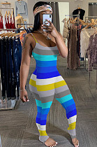 Blue Casual Polyester Striped Sleeveless Round Neck Ruffle Cami Jumpsuit SH7179