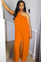 Orange Casual Polyester Sleeveless Tank Jumpsuit DMM8123