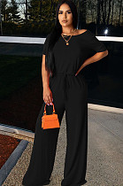 Black Casual Polyester Short Sleeve Waist Tie Romper WA5021